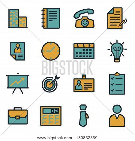 Vector flat business icons set on white background