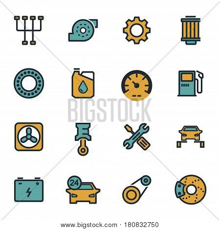 Vector flat car servise icons set on white background