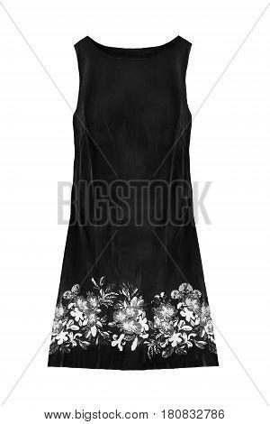 Black mini sleeveless dress isolated over white