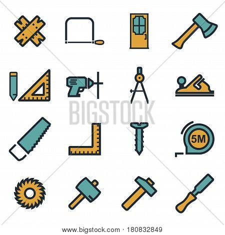 Vector flat carpentry icons set on white background
