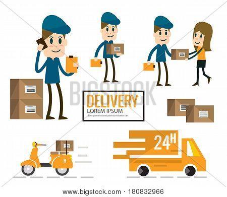 Delivery man in blue uniform post.cargo transportation. flat design Vector illustration