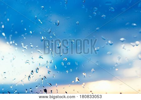 Textures Of Water Droplets Of Rain Flow Down The Windowpane. Condensation, High Humidity , Large Dro