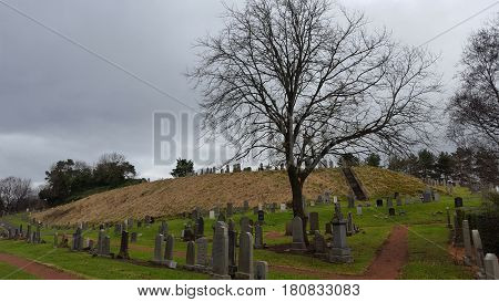 Old cemetery and tombs in a scottish town