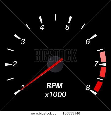 Tachometer. Black round scale dashboard. Vector illustration