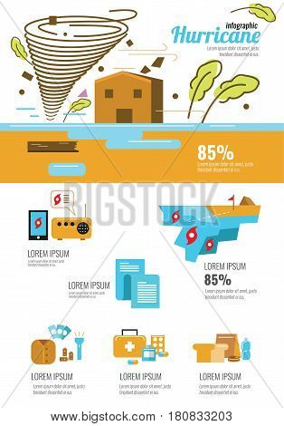 Wind infographic. Tornado and hurricane set with natural disaster symbols. flat icons design elements. vector illustration