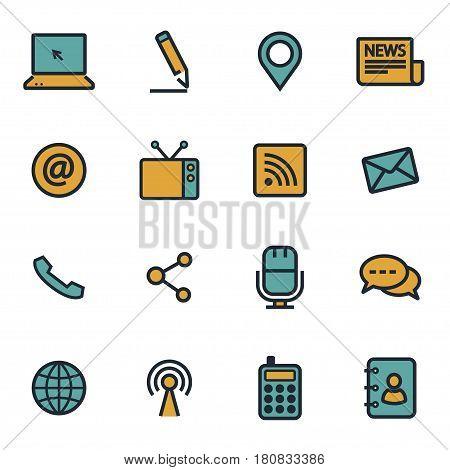 Vector flat communication icons set on white background