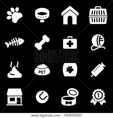 Vector white pet icons set on black background