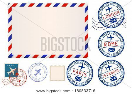 Collection of postal elements. envelope and stamp. Vector illustration