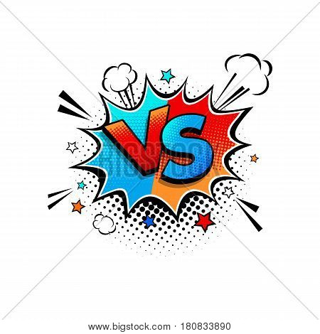 Comic Speech Bubble With Expression Competition Text Vs Versus, Clouds And Stars Vector Bright Dynam