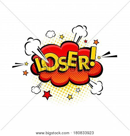 Comic Speech Bubble With Expression Text Loser, Stars And Clouds. Vector Bright Dynamic Cartoon Illu