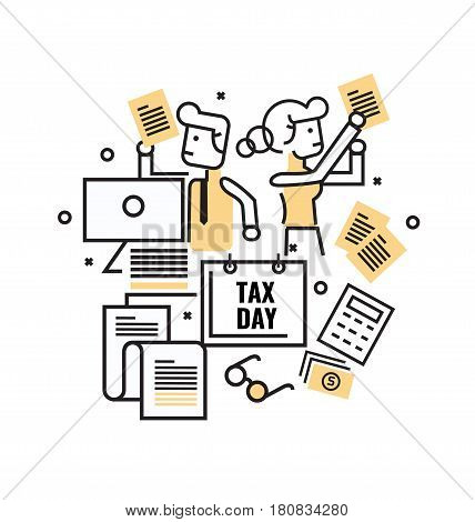 Busy Business people with Tax documents. Tax concept. flat thin line icons design. vector illustration
