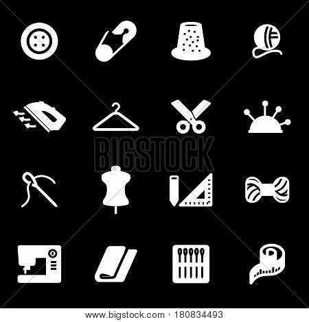 Vector white sewing icons set on black background