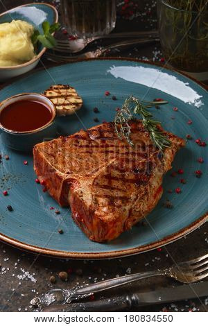 Steak T-bone With Mashed Potatoes And Sauce