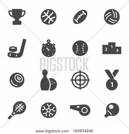 Vector black sport icons set on white background