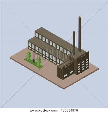 vector illustration of the plant. Brown building on blue background isolated. isometric vector illustration