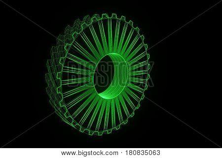 Cogwheel Gear in Hologram Wireframe Style. Nice 3D Rendering