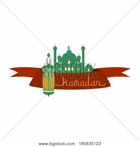 Ramadan Kareem greeting card with arabic calligraphy. Colorful vector illustration isolated on a white background. Template for invitation, poster, banner, menu, card for the celebration of Muslim community festival