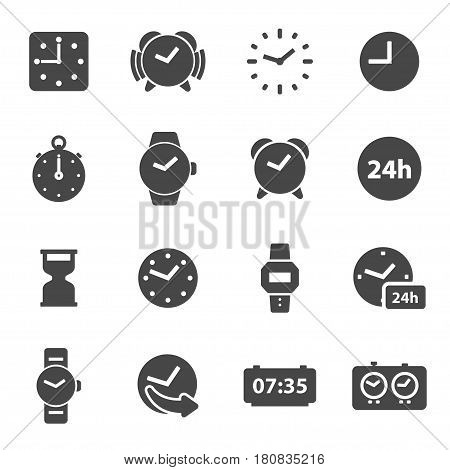 Vector black time icons set on white background