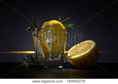 Cocktail With Gin , Tonic, Lemon And Ice.