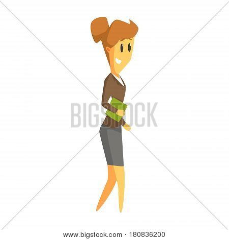 Business woman holding a green book in her hand. Education, teaching, literature. Colorful cartoon character isolated on a white background