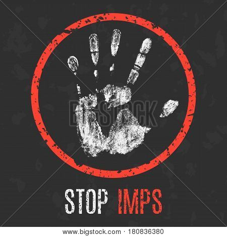 Vector illustration. Paranormal phenomena: stop imps sign.
