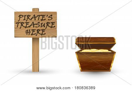 gold pirate treasure with pirate treasure wood board sign