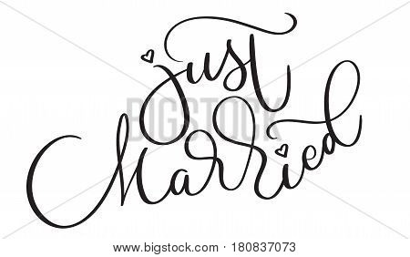 Just married text on white background. Hand drawn vintage Calligraphy lettering Vector illustration EPS10.