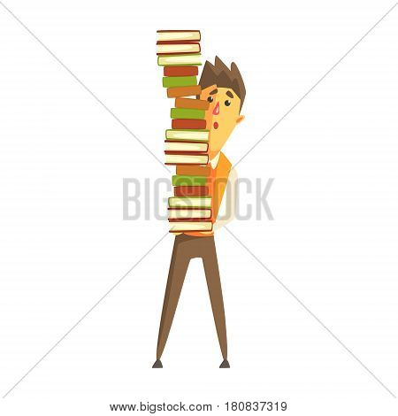 Student standing and holding a pile of books. Exhausted student preparing for exam with books. Colorful cartoon character isolated on a white background