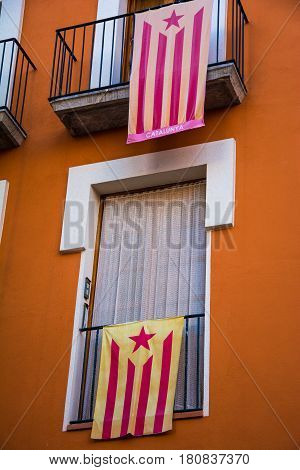 Catalan independence flags hanging from balconies in Catalonia