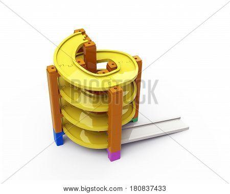 Spiral Track In Stacking Blocks, 3D Illustration