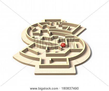 Maze Ball Game In Money Shape Box, 3D Illustration