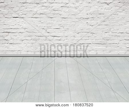 Old  Aged White Bricks Wall With Wooden Floor Background