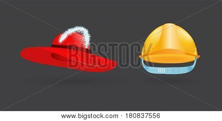 Different kind of fashion yellow hat modern elegance red cap element and garment textile accessories top classic clothes vector illustration. Personal design style headdress clothing.