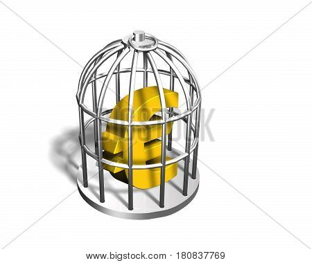 Golden Euro Sign In The Silver Cage, 3D Illustration