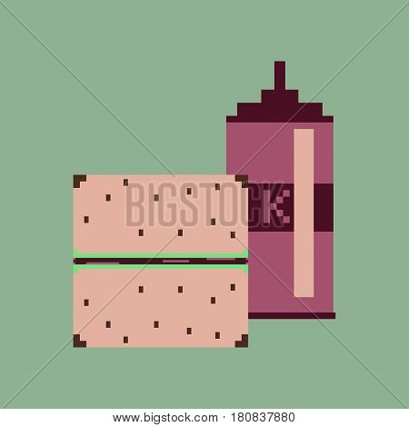 pixel icon in flat style burger and ketchup