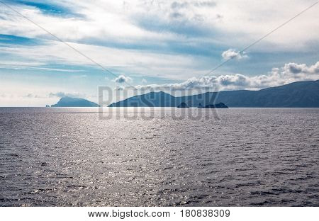Italy Campania view of the Amalfitana Coast from the sea in the background the Capri island