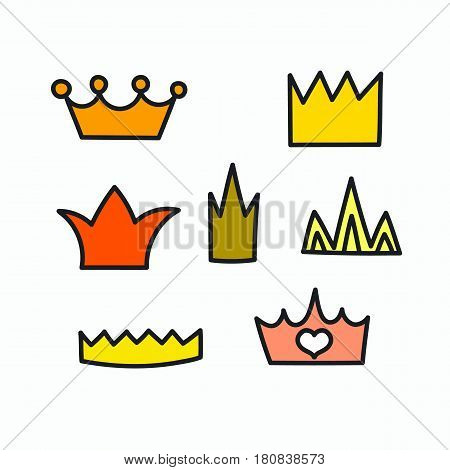 Cartoon hand drawn crown for little girl princess. Funny cute elements for photo booth isolated. Vector illustration.