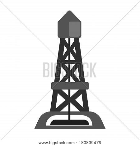 Oil rig, oil industry production equipment, flat vector illustration isolated on a white background