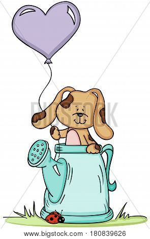 Scalable vectorial image representing a cute dog in watering can with balloon, isolated on white.