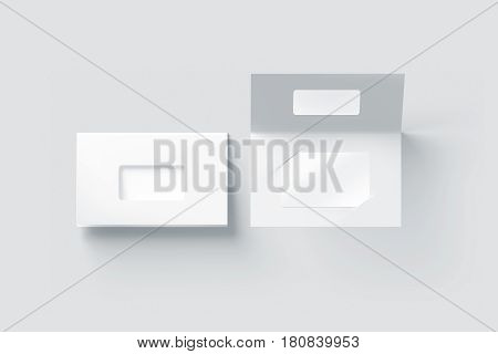 Blank white plastic card mockup inside paper booklet holder with window top view 3d rendering. Clear loyalty program folded brochure with certificate mock up opened and closed.