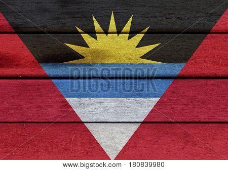 Antigua And Barbuda Flag On A Wood