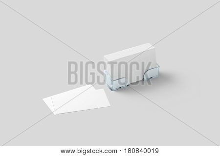 White business card mockup in acrylic holder isolated. Plastic transparent glass box with blank namecards.