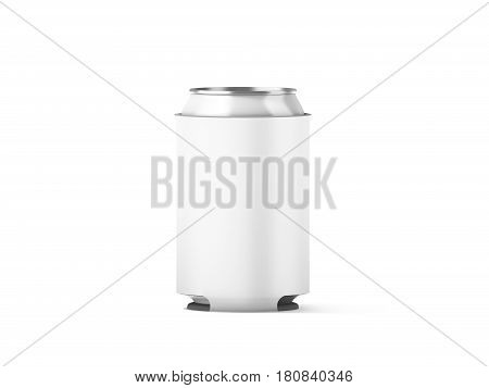 Blank white collapsible beer can koozie mockup isolated 3d rendering. Empty neoprene cooler holder mock up for tin beverage. Plain drinkware hugger design template. Clear fizzy pop soda sleeve.