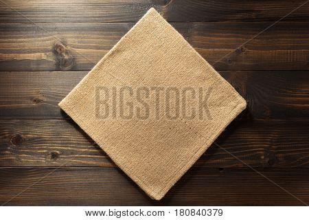 hessian burlap napkin on wooden background