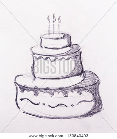 Big torte on white paper background. hand drawn picture sketch