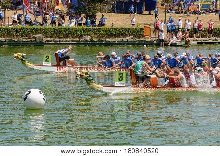 Rome Italy - July 30 2016: Dragon boat crews compete at the european championships held in Italy in 2016 summer Hungary vs Italy race