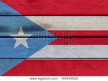 Puerto Rico Flag On A Wood
