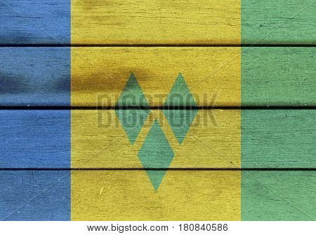 Saint Vincent And The Grenadines Flag On A Wood