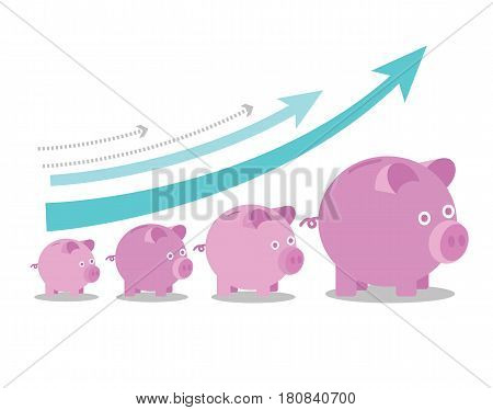 Pink piggy banks increasing in size with growth arrows. Growing investment concept. flat line icon design vector illustration