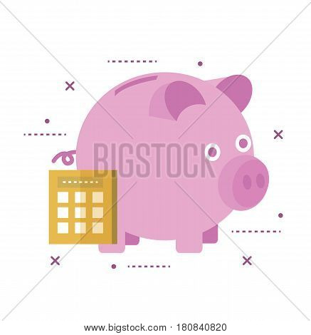 Piggy bank secured with lock. Online banking concept. flat line icon design vector illustration